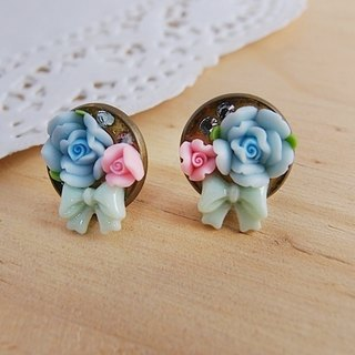 Hear the language of flowers [CR0123] rose with bow x Rhinestone x-ear pin earrings