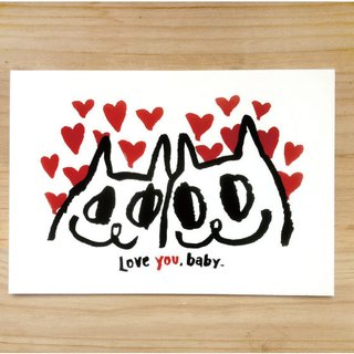"Wanying Hsu cat down postcard ""LOVE YOU, BABY"""