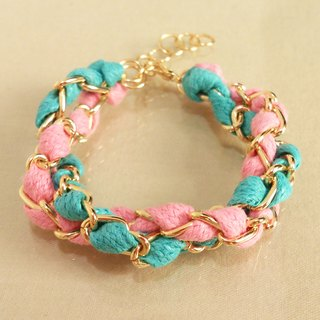 ~ Fairy tale - a double circle color wax rope bracelet - Mediterranean banks of the girl - pink + blue-green