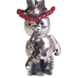 Shabon Lee silver designer toy jewellery figure - Bear Alliance - Cowboy Bear with revolver, hat, and cigar. Exclusive 925 sterling silver action figure necklace pendant.