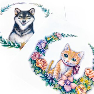 Cute Cat Dog Animal Meow Pet Watercolor Flower Plant Temporary Tattoo Sticker HK