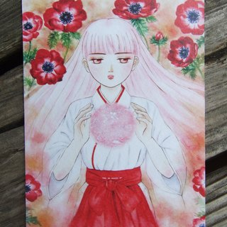Red anemone - watercolor postcard-260g watercolor paper