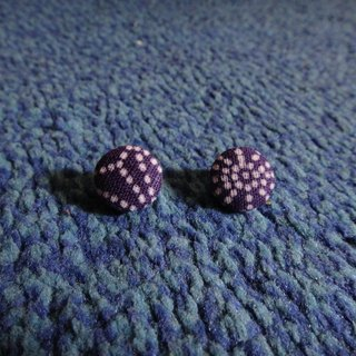 (C) _ Sun purple dot cloth button earrings random shipments [] C22BT / UY29