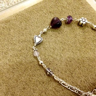 Natural stone series _ wisdom purple amethyst mixed cordierite-based retro silver bracelet