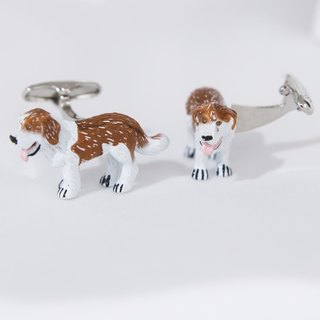 Hand color puppy cufflinks DOG CUFFLINKS