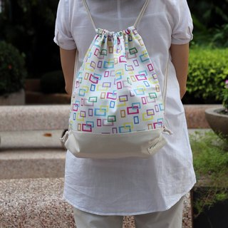 Silverbreeze ~ Drawstring backpack ~ Colourful rectangle