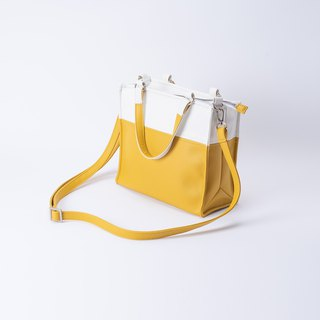Paper bag shape color matching bag portable shoulder dual-use white X yellow