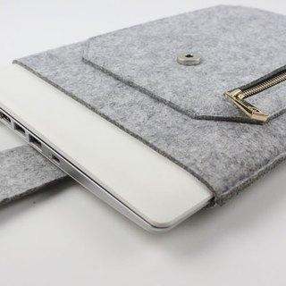 "Original handmade light gray felt zipper Apple computer protective cover blanket 12 inch laptop bag computer bag Macbook 12 ""(can be tailored) - ZMY007LG12A"