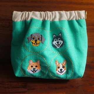 Qiao Wang Wang dog embroidery shrapnel gold deposit bag wallet (embroidered in English name please note)