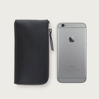 iPhone zipper phone case / wallet -- stone black