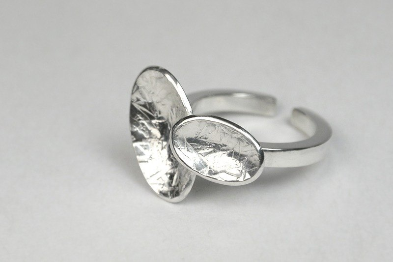 Dual oval Silver Ring (adjustable)