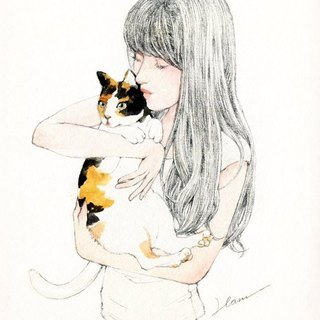 {Atelier Hanu} girl with a cat drawing card