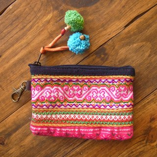 【Grooving the beats】[ Fair Trade] Hill Tribe Vintage Simple Coin Purse(Pink)
