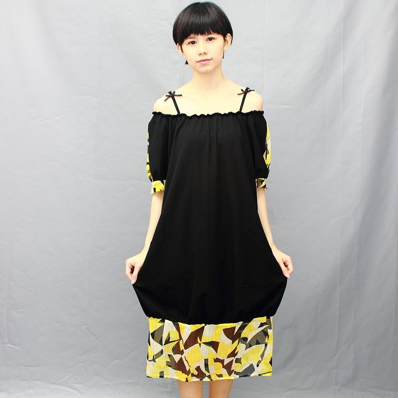 black cotton dress/yellow Chiffon/flower/