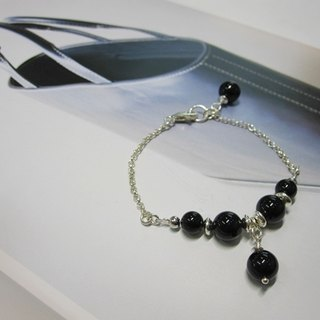 Black Tune - Natural Black Tourmaline (Tourmaline) Sterling Silver Bracelet Natural Crystal 925 Sterling Silver Hong Kong Design