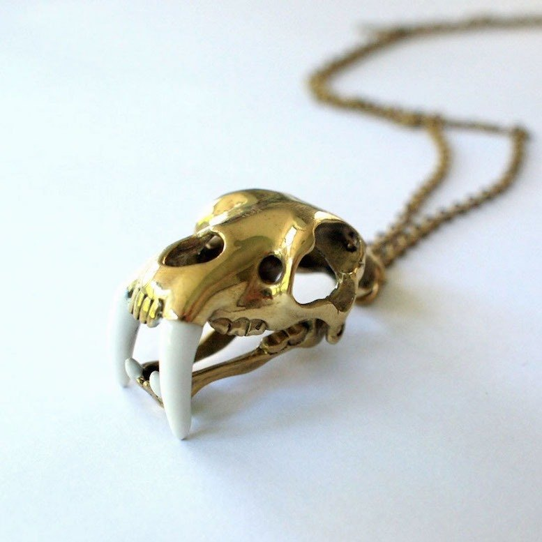 Saber tooth pendant in brass and oxidized antique color ,Rocker jewelry ,Skull jewelry,Biker jewelry