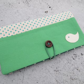 Mint green passbook bag / wallet long clip