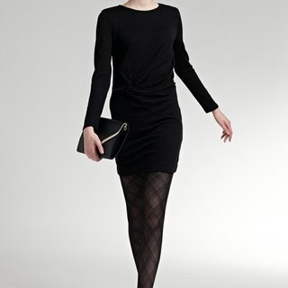 Twist-Front knot long-sleeved knit short dress