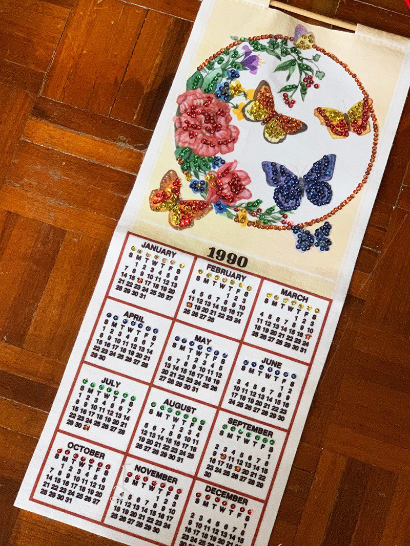 1990 American Early Cloth Calendar Butterfly