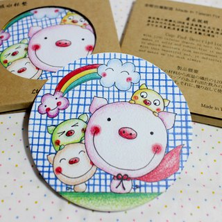 Ceramic water coaster _ (Superman pig)