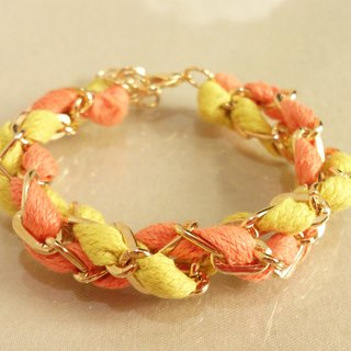 ~ Fairy tale - a double circle color wax rope bracelet ~ ~ summer sunflower yellow orange +