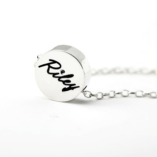 Custom Bracelet Cute Plate - Big Round Name English Text Bracelet 925 Silver Bracelet - ART64