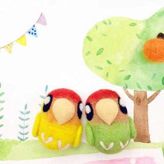 Wool felt little love parrot parrots Charm