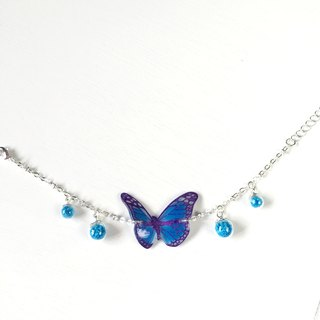 * Haku‧Neko * Luminous purple pattern blue hand-painted butterfly bright glass ball bracelet