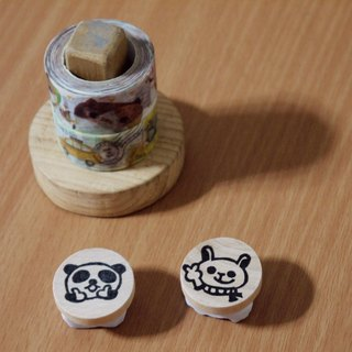 Hand carved rubber stamp - animal QQ small round chapter (1 Group 2 in)