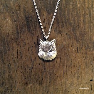 EmmaAparty handmade sterling silver necklace '' big head cat ''