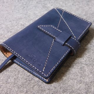 Handmade leather color with A7 jumper style loose-leaf notebook show stitching blue + white line