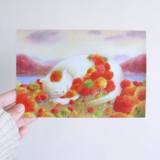 Cute cat forest illustration card postcard