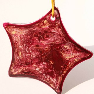 Wine Red x Light Gold Marbled Star Glass Ornament・Elegant Personalized Thank You Gift