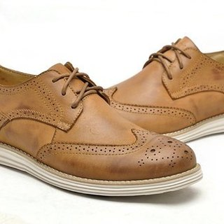 Functional lightweight cushioning comfort breathable leather Oxford shoes WINGTIPS caramel brown