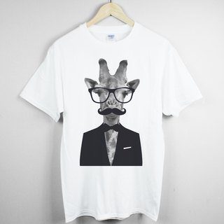 Giraffe-Gentleman T-shirt -2 color giraffe animal beard gentleman glasses green paper art design fashion fashionable word