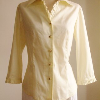 Small Frill Sleeve Blouse - light yellow