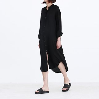 Black Freedom Hill Copper Ammonia Filament Mid-length Shirt Dress Dresses Collar Shirt Irregular Gloss Spring/Summer Style Minimality Flowiness | Fanta Tower Original Independent Design Women's Wear