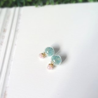 *Haku‧Neko*Pink x mint green glass beads ball earrings sided