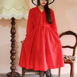 F1129 (Vintage) red fine waist straps attached little white long-sleeved vintage dress