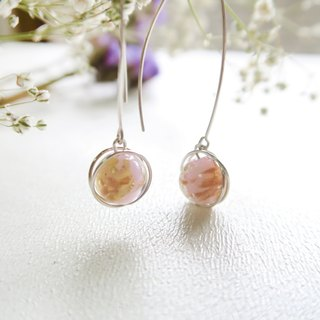 925 Silver Powdered-pink Glitter Colored-glass  Earrings-Sold as a Pair