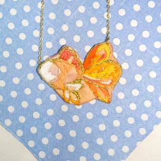 Sulfur gold embroidery hand-painted short necklace goldfish
