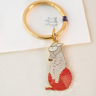 【SH52】 sheep key ring - gold / white scarf / red wool ball