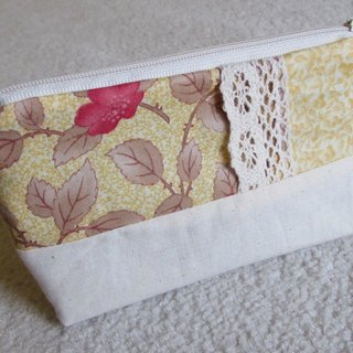 LARIO European retro flower series: buttery yellow Thorn Flower - Small cosmetic bag / debris bag / zipper bags
