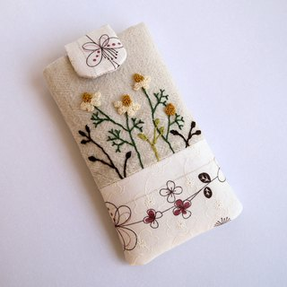 Chamomile embroidery phone bag (M) for 5 inch mobile phone