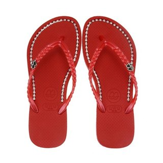 QWQ Creative Design Flip-Flops - Rough Drill - Rock Red [BB0011501]