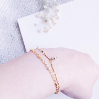 [The moonlight gems- moonlight gem / double loop bracelet - silver diamond]