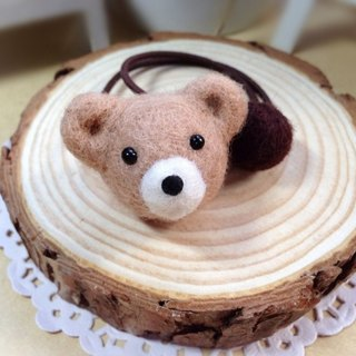 [Hairy] cream wool felt handmade cute teddy bear round fantasy hair circle hair bands hair accessories jewelry birthday gift