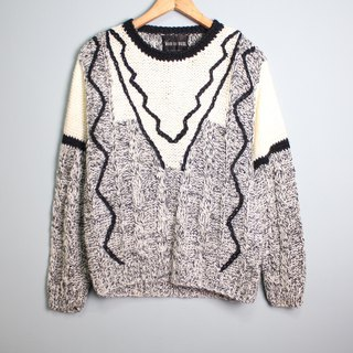 FOAK ancient hand-knit electric wave twist sweater