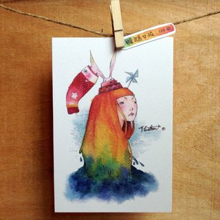 {139} Parrot girl,illustration postcard