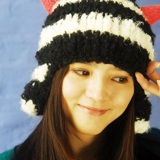 MR.STORE handmade wool hat classic black and white striped hat Little Devil
